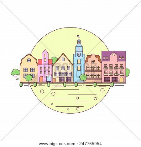 Flat Line City Landscape Icon, Website Elements Layout Of Urban Landscape. Buildings In The Circle