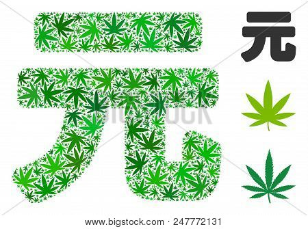 Yuan Renminbi Composition Of Weed Leaves In Variable Sizes And Green Tints. Vector Flat Grass Leaves