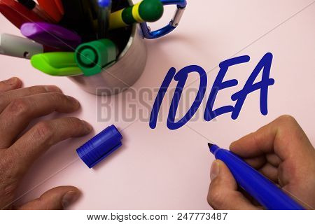 Handwriting Text Writing Idea. Concept Meaning Creative Innovative Thinking Imagination Design Plann