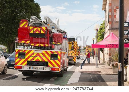 Saint Gilles Croix De Vie France - July 14, 2016 : Firefighters Parade On The Occasion Of The French