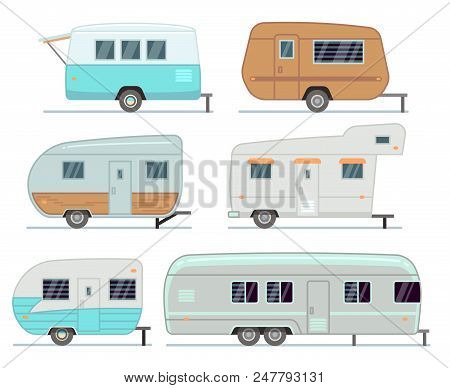 Rv Camping Trailers, Travel Mobile Home, Caravan Vector Set Isolated. Home Camper For Travel, Traile