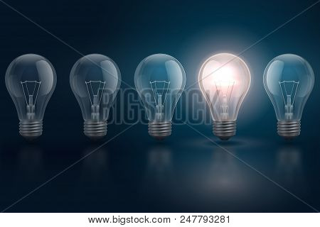 Creative Idea Concept With Light Bulbs And One Of Them Is Glowing. Leadership, Individuality, Opport