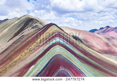 Rainbow Mountains, Cusco, Peru. Vinicunca, Peru - Rainbow Mountain 5200 M In Andes, Cordillera De Lo