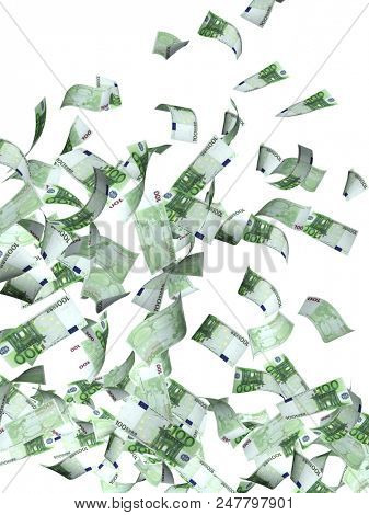 Flying banknotes of hundred euro. Isolated on white background. 3d render