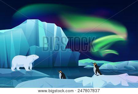 Cartoon Vector Nature Winter Arctic Ice Landscape With Iceberg, Snow Mountains Hills. Polar Night Wi