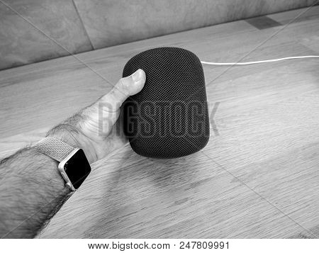 Paris, France - Jun 30, 2018: Apple Store With The Latest Apple Computers Homepod Smart Speaker - Ma