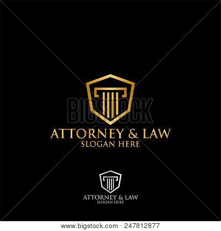 Abstract Table Hexagon Attorney Law Logo Template Vector
