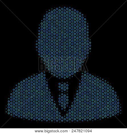 Halftone Boss Mosaic Icon Of Spheres In Blue Color Tinges On A Black Background. Vector Round Donuts
