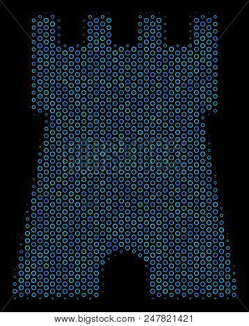 Halftone Bulwark Tower Collage Icon Of Spheric Bubbles In Blue Shades On A Black Background. Vector