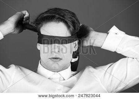 Blind Way Of Life. Blindfolded Man With Tie On Eyes In White Shirt On Blue Studio Background, Fantas