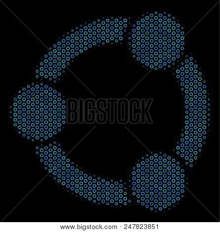 Halftone Cooperation Mosaic Icon Of Spheric Bubbles In Blue Shades On A Black Background. Vector Sph