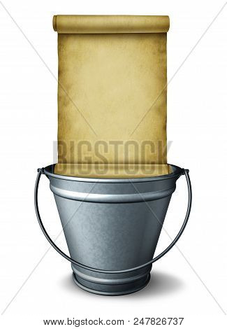 Bucket List Goal Planning Symbol As A Pail With A Blank Scroll As A Wish Checklist Or Resolution Amb