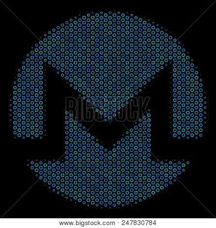 Halftone Monero Currency Mosaic Icon Of Spheric Bubbles In Blue Color Tones On A Black Background. V