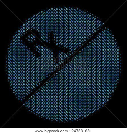 Halftone Pharmacy Tablet Composition Icon Of Spheric Bubbles In Blue Color Tones On A Black Backgrou