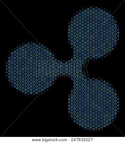 Halftone Ripple Currency Collage Icon Of Circle Bubbles In Blue Color Tinges On A Black Background.
