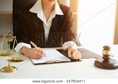 Judge Gavel Justice Lawyers, Business Woman In Suit Or Lawyer Working On A Documents. Legal Law, Adv
