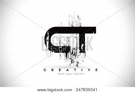 Ct C T Grunge Brush Letter Logo Design In Black Colors. Creative Brush Letters Vector Illustration.