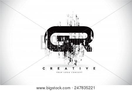 Gr G R Grunge Brush Letter Logo Design In Black Colors. Creative Brush Letters Vector Illustration.