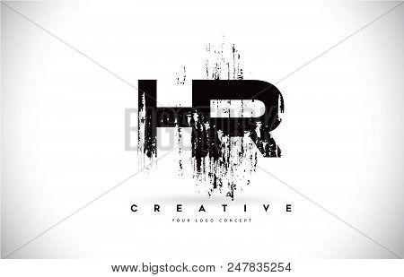 Hr H R Grunge Brush Letter Logo Design In Black Colors. Creative Brush Letters Vector Illustration.
