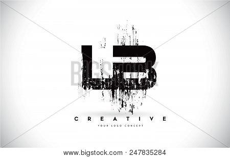 Lb L B Grunge Brush Letter Logo Design In Black Colors. Creative Brush Letters Vector Illustration.
