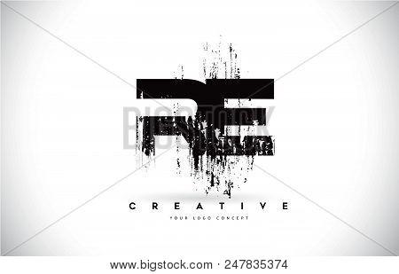 Re R E Grunge Brush Letter Logo Design In Black Colors. Creative Brush Letters Vector Illustration.