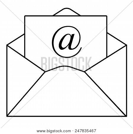 Outline Email Icon In Trendy Flat Style On White Background. Outline Email Symbol For Your Web Site
