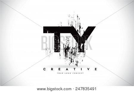 Ty T Y Grunge Brush Letter Logo Design In Black Colors. Creative Brush Letters Vector Illustration.