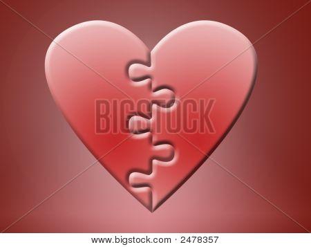 Two Jigsaw Heart Halves