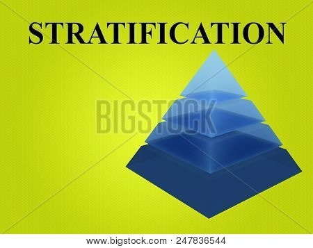 3d Illustration Of Stratification Script With Sliced Pyramid On Green Gradient Background