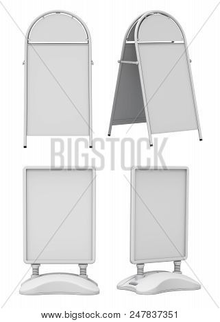 Clay Render Set Of Empty Blank Advertising Street Signs Isolated On White Background - 3d Illustrati