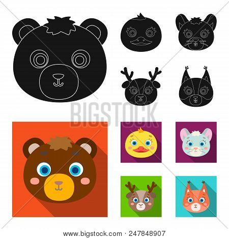 Bear, Duck, Mouse, Deer. Animal Muzzle Set Collection Icons In Black, Flat Style Vector Symbol Stock