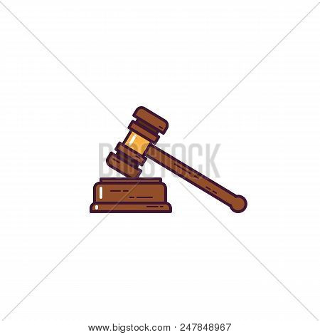 Judge Gavel Banner. Judge Wooden Hammer. Law And Judgement Concept. Verdict And Punishment Symbol. L