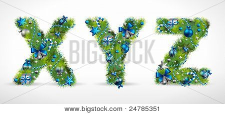 XYZ, christmas tree font with baubles. Vector illustration.