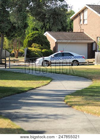 Melbourne, Australia - March 3, 2018: Police Car At A Road Side In An Residential Area In Melbourne