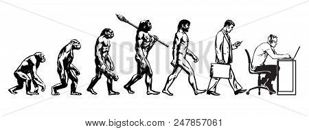 Theory Of Evolution Of Man. Human Development. From Monkey To Caveman And Modern Businessmen Talking