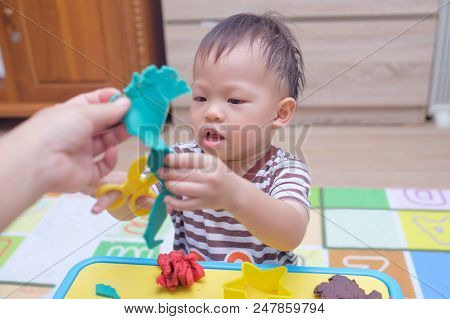 Cute Little Asian 18 Months Old Toddler Boy Child Having Fun Playing Colorful Modeling Clay / Play D
