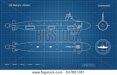 Blueprint Of Submarine. Military Ship. Top, Front And Side View. Battleship Model. Industrial Drawin