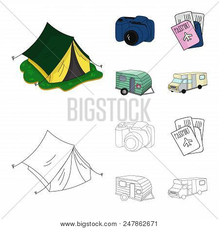 Vacation, Photo, Camera, Passport .family Holiday Set Collection Icons In Cartoon, Outline Style Vec