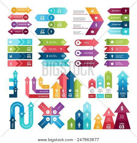 Colored Arrows For Design Projects Of Infographics. Visualizations Of Steps. Pictures For Business P