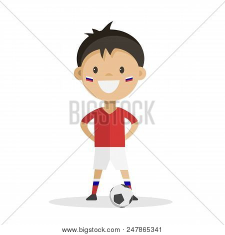 Football Player With Ball On White Background. Vector Illustration.