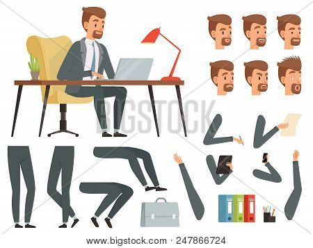 Businessman Workspace. Vector Mascot Creation Kit. Various Key Frames For Business Character Animati