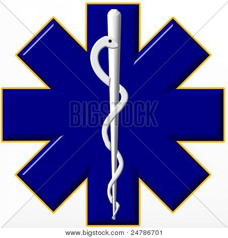 Blue star of life medical symbol with caduceus