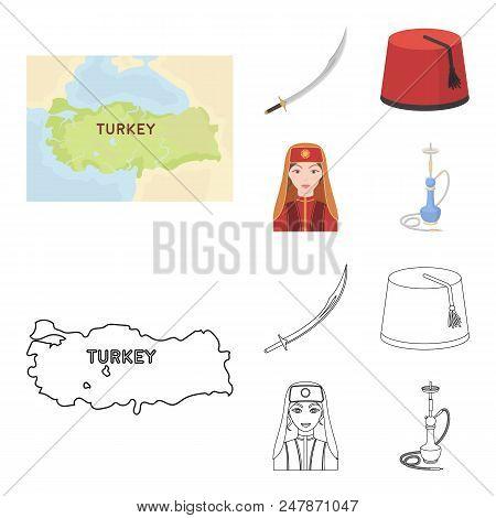 Turkish fez, yatogan, turkish, hookah.Turkey set collection icons in cartoon, outline style vector symbol stock illustration . poster
