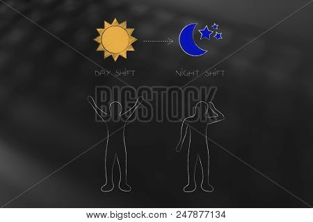 Working Shifts Conceptual Illustration: Tired Person With Night Shift And Energised Persn With Day S