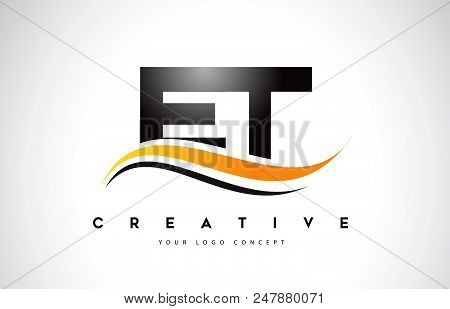 Et E T Swoosh Letter Logo Design With Modern Yellow Swoosh Curved Lines Vector Illustration.