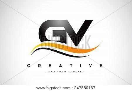 Gv G V Swoosh Letter Logo Design With Modern Yellow Swoosh Curved Lines Vector Illustration.