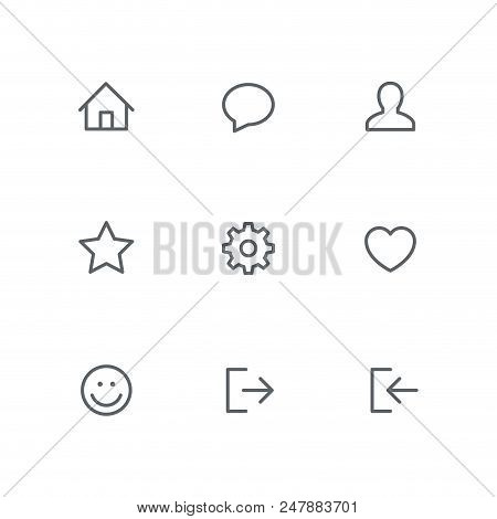 Basic Outline Icon Set - Home, Chat, Person, Star, Gear Wheel, Heart, Smile Face, Login And Logout S