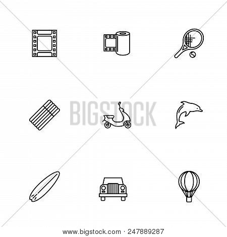 Touristic And Travelling Icon Set. Travelling Items Icon Vecor Set.