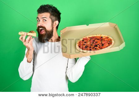 Pizza. Fast Food. Italian Food. Dinner For Student. Hungry Man Eat Delicious Pizza, Holds Delivered