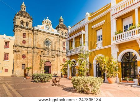 Cartagena, Colombia. march 2018. A view of the cathedral San Pedro Claver in Cartagena Colombia. poster